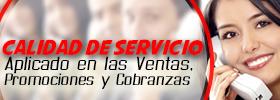 Calidad de servicio aplicado a las ventas, promociones y cobranzas  ONLINE